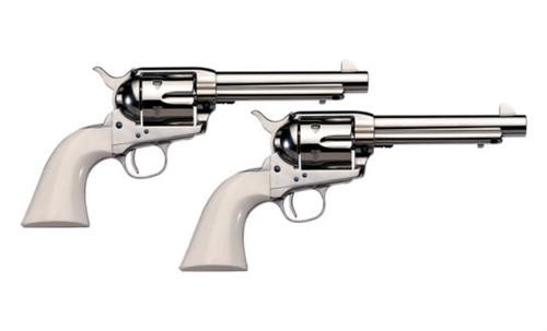 "Uberti 1873 Cattleman Cody NM, .45 Colt, 5.5"", Nickel/Ivory Grip, Matching Set (1 of 2 Pistols) - Sold with 037084980409"