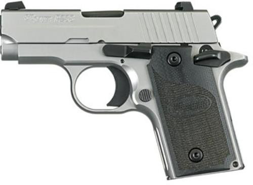 *D*Sig P238 380 ACP 2.7In HD Stainless Finish SAO Siglite Black G10 Grip (1) 6RD Steel MAG CA Compliant