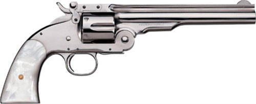 "Uberti 1875 No. 3 2nd Model Top Break, .45 Colt, 3.5"", Nickel/Pearl Grip"