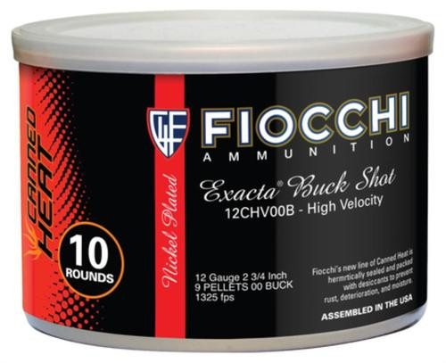 Fiocchi Canned Heat Buckshot 12 Gauge 2.75 Inch 1325 FPS 9 Pellets 00 Buckshot 10 Per Can