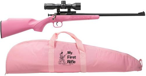 "Keystone Crickett 22LR, Scope/Case, 16.1"", 1rd, Synthetic Pink Stock, Blued"
