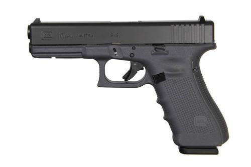 "Glock G17 Gen4, 9mm, 17rd, 4.49"", Gray Frame, Black Slide, Fixed Sights"