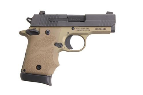 Sig P938 9MM 3IN Combat 2-Tone Flat Dark Earth SAO Siglite Flat Dark Earth Rubber Grip (1) 7RD Steel MAG Ambi Safety