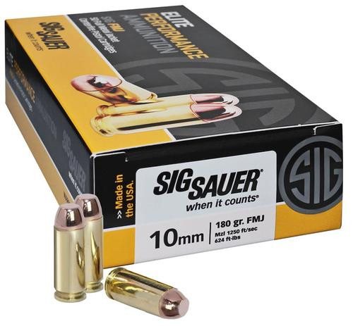Sig Ammo 10mm 180Gr Elite Ball FMJ 50rd Box
