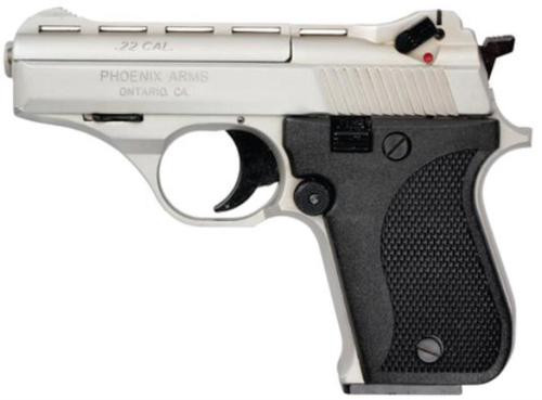 "Phoenix Model HP22 Pistol, 22LR, 3"", Nickel, Black Grips, 10 Round Mag"