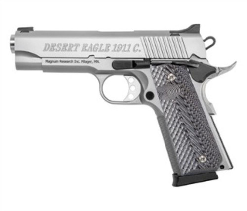 "Magnum Research Desert Eagle 1911 C Model 45 ACP 4.3"" Barrel Stainless Steel Finish Double Diamond Checkered Wood Grips 8rd"
