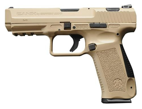 "Canik TP9SA, 9MM, 4.47"" Barrel, Polymer Frame, Desert Tan, 2-18rd Mags, Accessory Package"