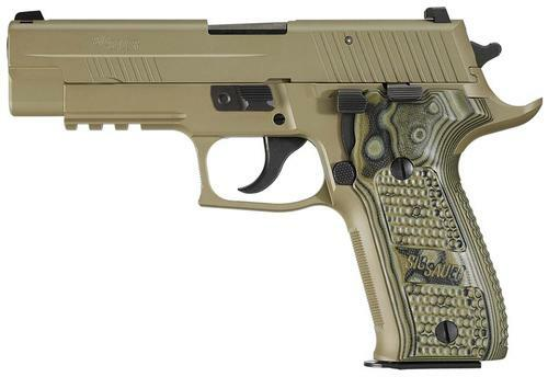 Sig P226 9MM 4.4In Scorpion Flat Dark Earth Da/Sa Siglite Black/Green G10 Grip (2) 10Rd Steel MAG CA Compliant SRT