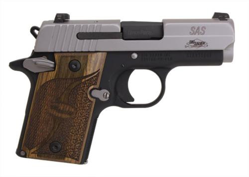 Sig P938 9MM 3IN SAS 2-Tone SAO Siglite Walnut Grip (1) 6RD Steel MAG Ambi Safety Dehorned
