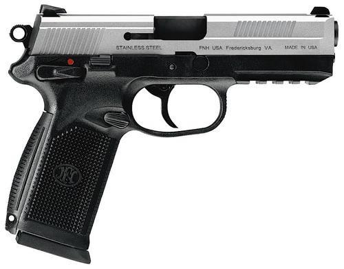 "FN FNX-45 DA/SA 45 ACP 4"" Barrel, Fxd 3 Dot 3 Mags Black Poly Grips /SS Slide, 10rd"