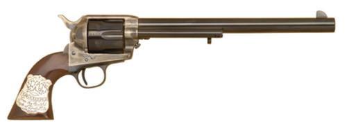 "Cimarron Wyatt Earp .45 Long Colt 10"" Barrel Sterling Silver Badge Inlaid Grip Blue"