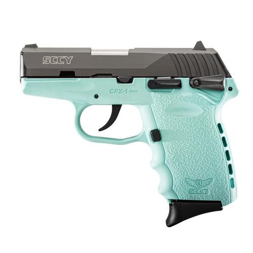 "SCCY CPX-1 CBSB 9mm, 3.1"" Barrel, Robin Egg Blue Frame 2- 10rd Mags"