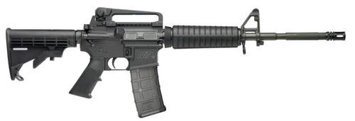 """Smith & Wesson, M&P 15, Semi-automatic Rifle, 556NATO, 16"""" M4 with A2 Birdcage Barrel, Black, Black Collapsible Stock, Adjustable Rear Sight, 30Rd, Additional Side Front Sling Swivel"""