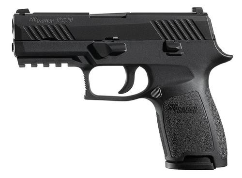 Sig P320 45 ACP 3.9In Nitron Black, Striker Contrast Sights Modular Polymer Grip (2) 9RD Steel MAG Rail