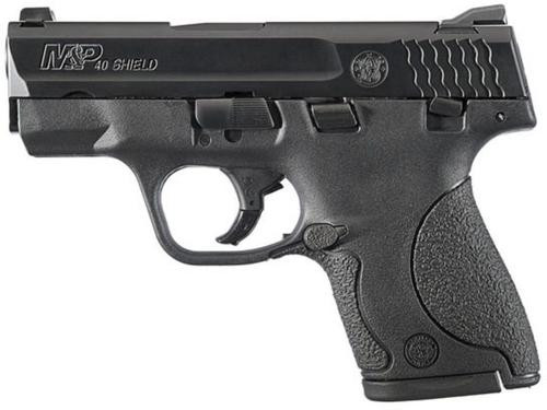 """Smith & Wesson, Shield, Striker Fired, Compact, 40 S&W, 3.125"""" Barrel, Polymer Frame, Black, 3 Dot Sight, Thumb Safety, 6 Rounds, 2 Magazines"""