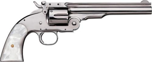 "Uberti 1875 No. 3 2nd Model Top Break, .38 Special, 7"", Nickel, Pearl Grip"