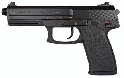 "HK, Mark 23, V1, Double Action/Single Action, Polymer Frame Pistol, Full Size, 45 ACP, 5.87"" Threaded Barrel, Black, 3 Dot Sights, Manual Thumb Safety, Frame Mounted Decocker, 10 Rounds, 2 Magazines"