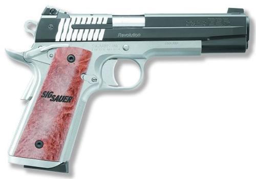 "Sig 1911 45 ACP, 5"" Barrel, STX Reverse 2-Tone SAO Siglite Burled Maple Grip (2) 8RD Steel MAG"