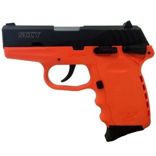 """SCCY CPX-1 Pistol, 9mm, 3.1"""", 10rd, Manual Safety, Orange Frame, Black Slide"""