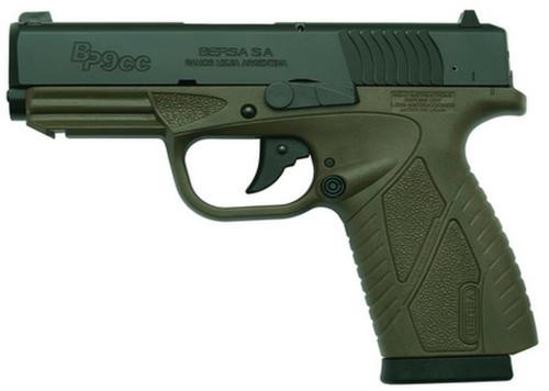 """Bersa Conceal Carry 9MM 3.3"""" OD Green Finish, Polymer Frame, Adjustable Sights, 8 Round"""