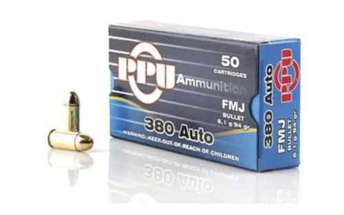 PPU .380 ACP 94gr, FMJ, 50rd/Box