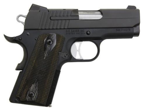 Sig 1911 45 ACP 3.3In Nitron Black SAO Siglite Blackwood Grip (2) 7RD Steel MAG