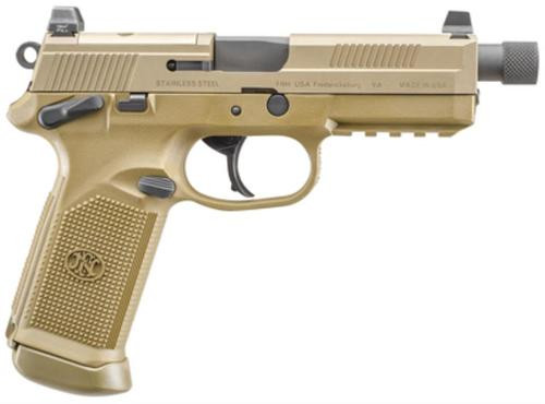 "FN America, FNX-45 Tactical, DA/SA, Semi-automatic, Full Size Pistol, 45 ACP, 5.3"" Threaded Barrel, Polymer Frame, Flat Dark Earth, Suppressor Height Night Sights, 10Rd, 2 Magazines, Fired Case, Manual Safety, Optics Ready"