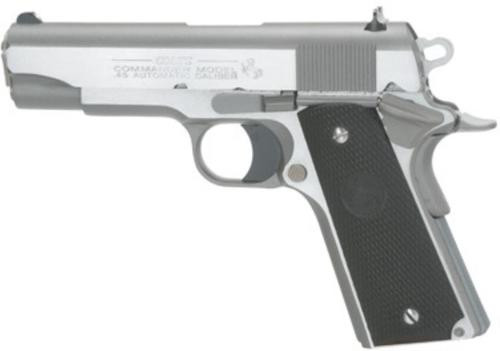 "Colt 1991 Commander Pistol, 45 ACP, 4.25"", Black Rubber Grip, SS, 7rd"
