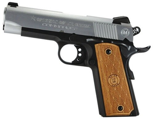 "American Classic Amigo 1911 45 ACP 3.5"" Duo-Tone Finish, Checkered Hardwood Grips, 7 Round Mag"