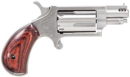 "NAA Ported 22 Magnum 1.125"" Barrel Rosewood Grip SS Finish 5 Shot"