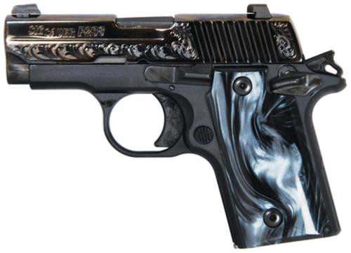 Sig P238 380 ACP 2.7In Black Pearl Nitron Engraved Slide SAO Siglite Black Pearl Grip (1) 6RD Steel MAG