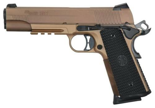 "Sig 1911 45 ACP 5"" Barrel, Emperor Scorpion Flat Dark Earth SAO Siglite Black G10 Grip (2) 8RD Steel MAG Rail"