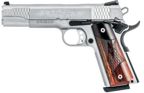 "Smith & Wesson 1911 45 ACP 5"" Barrel Engraved, Eoof Grips 8rd Mag"