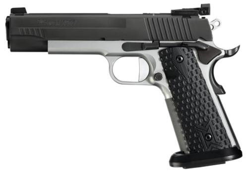 "Sig 1911 45 ACP, 5"" Barrel, MAX Michel Reverse 2-Tone SAO Adjustable Sights Black G10 Grip (2) 8RD Steel MAG ICE Magwell"