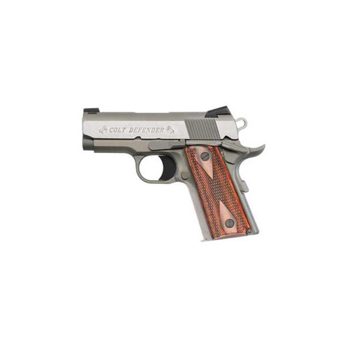 """Colt Defender 45ACP, 3"""", Brushed Stainless, Fixed Sights, Slim Checkered Wood Grips, 7rd"""