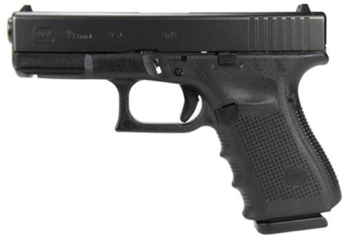"Glock, 19 Gen 4, Safe Action, Compact, 9mm, 4.02"" Barrel, Polymer Frame, Matte Finish, Fixed Sights, 15Rd, 3 Magazines"