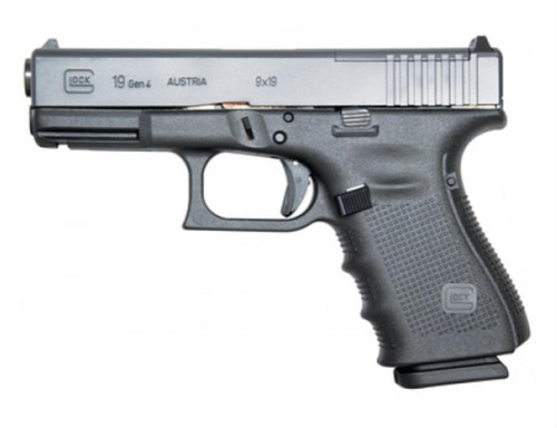 "Glock G19 Gen4, MOS 9mm, 4"" Barrel, Fixed Sights, 15rd"