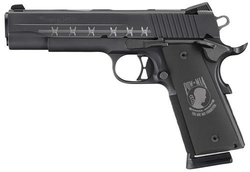 Sig 1911 POW-MIA 45 ACP Custom Engraved Nitron Custom Hogue POW-MIA Grips Black