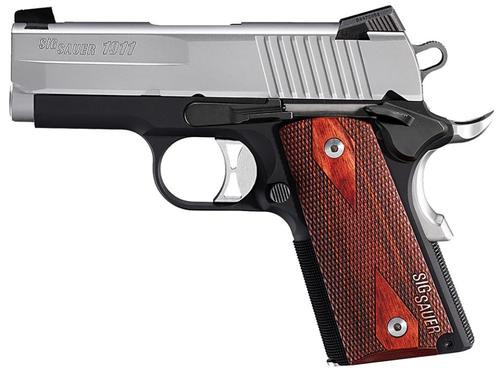 Sig 1911 9MM 3.3In Ultra Compact Black & Stainless Finish SAO Siglite Rosewood Grip (2) 8RD Steel MAG