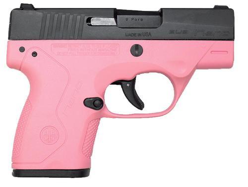 """*D*Beretta Nano 9mm 3"""" Barrel Fixed Sights, Black Matte/Rosa Pink Frame, 8rd Mag"""