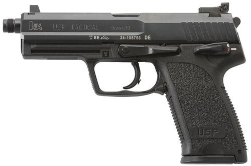 "HK, USP Tactical, Semi-automatic, DA/SA, 9mm, 4.86"" Threaded Barrel, Polymer Frame, Black, Safety/Decocker, Adjustable Sights, 15Rd, 2 Magazines"