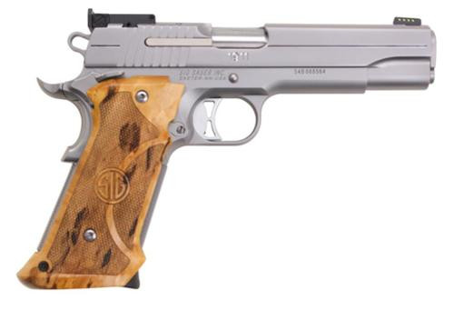 "Sig Super Target 1911 45 ACP, 5"" Barrel, SS Finish, Adjustable Sights, Target Birch Grip, 2x8rd Mags"