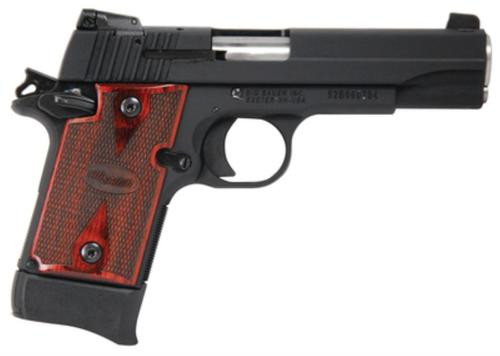 Sig P938 22LR 4.1In Target Black SAO Adjustable Sights Rosewood Grip (1) 10Rd Poly MAG Ambi Safety