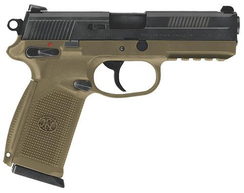 "FN FNX-45 DA/SA 45 ACP 4"" Barrel, Fxd 3 Dot 3 Mags Flat Dark Earth Poly Grip Black Slide, 10rd"