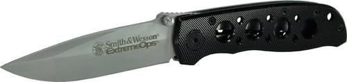 "Smith & Wesson Knives Extreme Ops Folder 3.22"" 400 SS Drop Point Plain Black"
