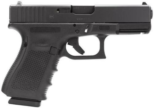 "Glock, 19 Gen4, Striker Fired, Compact, 9mm, 4.02"" Barrel, Polymer Frame, Matte Finish, Fixed Sights, 15Rd, 3 Magazines"
