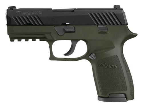 Sig P320C Striker 9mm Siglite Night Sights OD Green Nitron Finish 15rd Mags