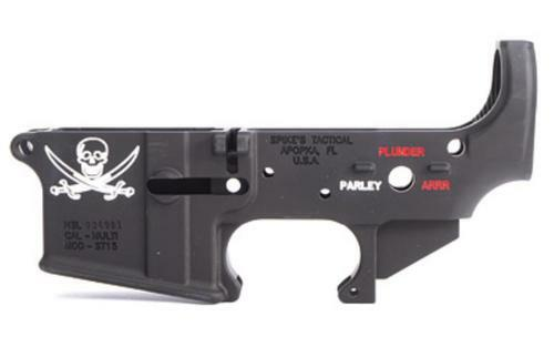 Spike's AR-15 Stripped Lower, Calico Jack Flag, Color Filled, 223/556
