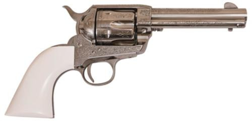 "Cimarron Firearms Frontier .45 Long Colt 4.75"" Barrel Nickel Finish PW Laser Engraved Poly Ivory Grip"