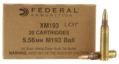 Federal Lake City Arsenal 5.56mm 55gr, Metal Clad Boattail Mil-Spec 20rd Box